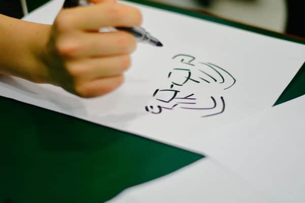 drawing of eyes and hair